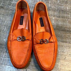 Escada Orange Leather Loafers